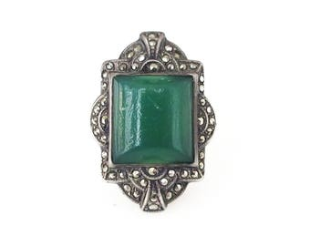 Art Deco Uncas Sterling Marcasite Ring - Green Glass, Jade Glass, Art Deco Jewelry, Vintage Ring, Size 9.25