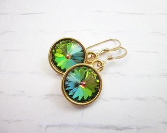 Blue & Green Swarovski Earrings -- Faceted Swarovski Earrings -- Vitrail Swarovski Dangles -- Rainbow Rivoli Earrings -- Colorful Drops