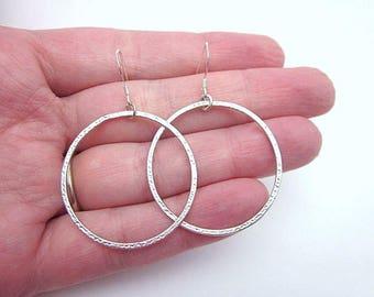 Casual Hoop Earrings -- Medium Silver Hoops -- Single Hoop Earrings -- Medium Sterling Hoops -- Simple Metal Hoops -- Thin Hoop Dangles