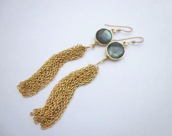 Labradorite & Gold Jewelry -- Long Tassel Earrings -- Grey Tassel Earrings -- Grey Labradorite Earrings -- Gold Tassel and Gem Earrings