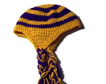 Unisex Adult Earflp Hat Gold & Purple Large  Crochet Colorful Hat