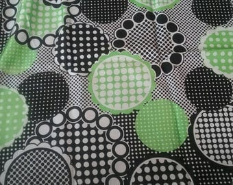 Lime Green And Black Abstract Silky Vintage Fabric Yardage