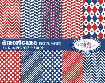 65%OFF SALE Americana July 4th digital papers, Independence Day scrapbook paper, Americana digital papers, commercial use, P243