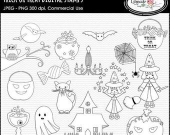 65%OFF SALE Halloween digital stamps, Halloween line art, Halloween clip art, commercial use Halloween stamps, S142