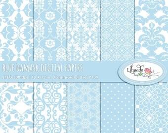 50%OFF Damask digital papers, baby blue damask, damask scrapbook papers, vintage digital paper, vintage damask, P139