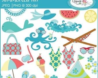 50%OFF Summer clip art, summer vacation clip art, beach vacation clip art, C29