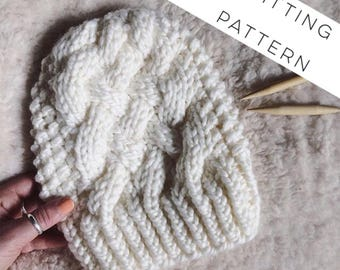 Instant Download Knitting Pattern - Womens Hat Pattern - Cable Knit Hat Pattern - Beanie Knit - Slouch Hat Pattern - Hat Knitting Pattern
