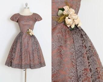 Vintage 50s Dress | 1950s mocha lace dress | cocktail party dress | xs