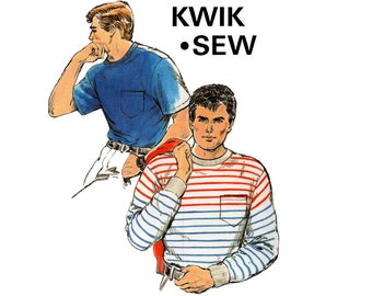 Kwik Sew 1671 Mens Long & Short Sleeved Stretch T Shirts 80s Vintage Sewing Pattern Sizes S - XL UNCUT Factory Folded
