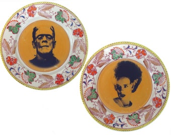 Frankenstein and Bride Vintage Plate Set 7.25""