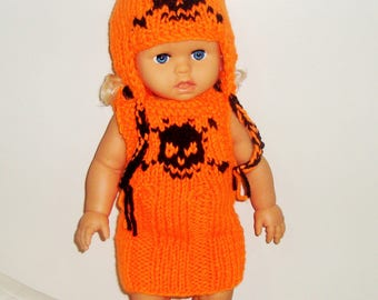 18 inch Doll Clothes Skull Knit Hat and Dress two set, Orange, fit American Girl Doll Clothes, Easter Gifts for Girls Birthday Gift
