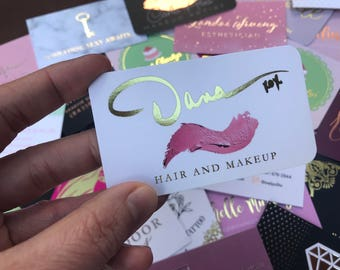 Makeup Artist Business Cards with Gold Foil - custom business cards for jewelry artist, brow artist, nail artist, hair stylist, etc.