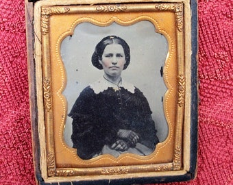 Half Case Ambrotype - Lady w/ Snood & Fingerless Gloves