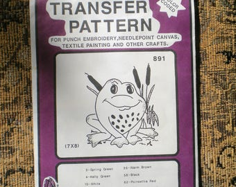 Pretty Punch 1987 Hot Iron Transfer Pattern Frog Embroidery Needlepoint Canvas