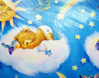 Vintage Wrapping Gift Teddy Bears Sleeping Cloud Moon Sky Stars Paper Sealed Children Fire Hose Scrapbooking