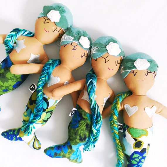 Mariana Mermaid Cloth Rag Doll - Blue and Green Braid - Ready to Ship