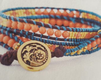 Triple Wrapped Braclet. Salmon. Gold Button. Natural Brown Leather, paisley charm