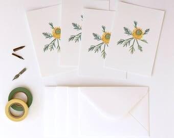 Little Drumsticks Illustrated 4 Pack - A6 Flora Postcards With Envelopes