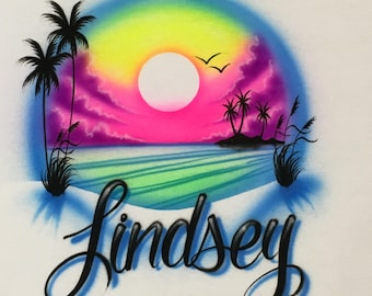 Airbrush Sunrise Beach Shirt Personalized with Name  Airbrushed T-Shirt