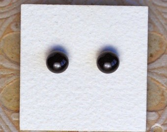 Fused Glass Earrings, Petite, Black  DGE-1183