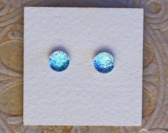 Dichroic Glass Earrings , Petite, Green Tint   DGE-1191