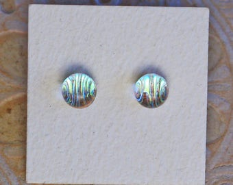 Dichroic Glass Earrings , Silver Red   DGE-1203