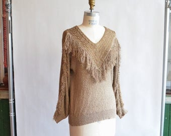 25% off Storewide // Vintage 1980s FRENCH RAGS fringed pullover