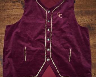 Deluxe Burgundy Corduroy Santa vest Coca Cola style, 4X ready to ship custom made