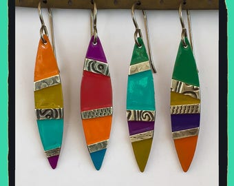 Silver Brass and Color Surf Board Mix and Match Earrings