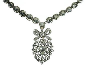 ON SALE Antique Diamond Heart Necklace 17th Century