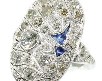 Large diamond sapphire ring platinum 18k white gold old European cut diamonds 2.81ct blue cabochon sapphires Art Deco statement ring