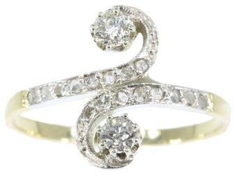 S shaped diamond engagement ring 18k yellow gold old European cut diamonds .36ct rose cut diamonds antique ring