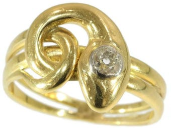 Diamond snake ring 18k yellow gold old European cut diamond .25ct Victorian antique serpent ring