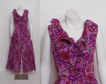 25% OFF 1960s palazzo jumpsuit | purple Hawaiian print