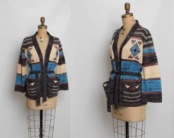 vintage 70s boho cardigan sweater with belt