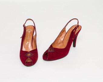 vintage 60s peep toe heels burgundy