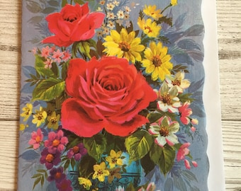 Vintage Mother's Day Card, Red Roses, 1970's, Unused
