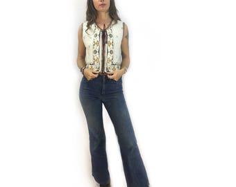 Vintage boho vest waistcoat // one size fits most
