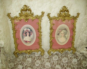 Exquisite Pair Antique Ornate French Gold Metal Picture Frames/Pat'd June 1894