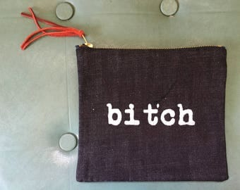 Handprinted Denim Clutch Bag with Lining – Bitch - Edition of 4
