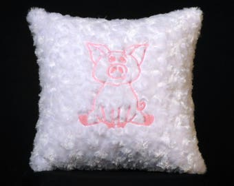 New Embroidered Soft Fluffy Glow-In-The-Dark Baby Pig Accent Pillow, New 12 x 12 Insert — Item 264