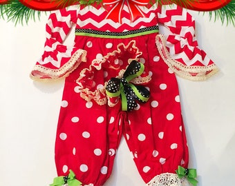 Christmas Romper Headband set Boutique Remake Baby Girl Outfit 6 Month Ruffled Pants lacy new Years Outfit