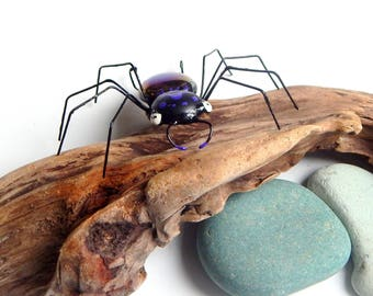 Medium Black and Purple Wire Spider, Unique Handmade One of a Kind Spider, Gift for him her, Collectible Bug, Wall hanging, Window Hanging