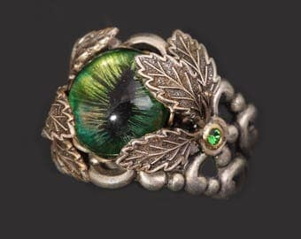 Leaf Ring Silver Eye Ring Evil Eye Ring Leaf Ring Silver Leaf Ring Dragon Eye Ring
