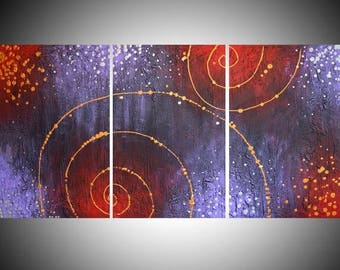 "huge painting large wall abstract triptych large impasto wall oversized art canvas gold silver Modern Palette Knife 54 x 24 "" 72 x 36"" huge"