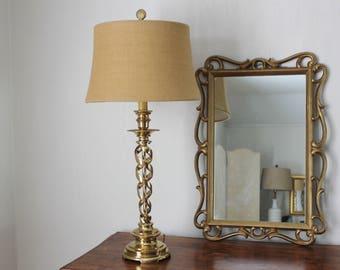 Tall Brass Spiral Lamp