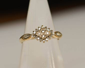 Diamond Engagement Ring, Vintage 9K Gold and Diamond Cluster Wedding Ring, Size 7