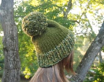 Green Knit Hat, Women's Knit Hat, Pom Pom Hat, Winter Hat, Hand Knit Hat, Knit Hat, Chunky Knit Hat
