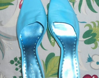 Aqua Blue Kitten Heel Slip On Pointed Toe Summer Shoes Size 8 B BCBG