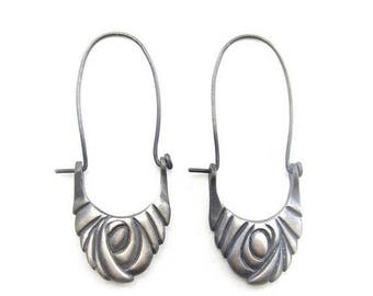 Sample Sale Swirling Vortex Hoop Earrings | Recycled sterling silver| Unique Hoop earring | solid silver earring | oxidized silver earring